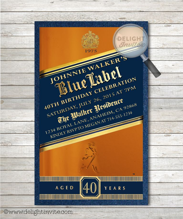 Johnnie Walker Blue Label 40th Birthday Party Invitations party