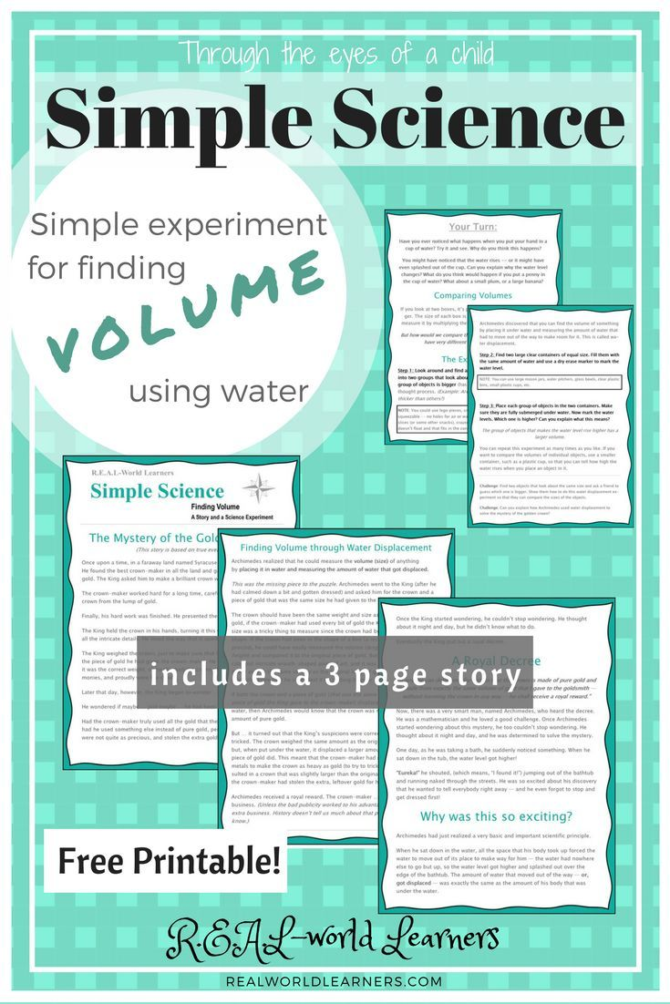 FREE PRINTABLE science experiment for finding volume using water ...