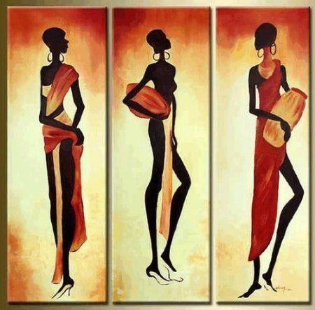 Versandkostenfrei Hand- gemalt figurative abstrakte Ölgemälde auf leinwand moderne kunst afrikanische frauen gemälde drei Platten(China (Mainland)) #afrikanischefrauen