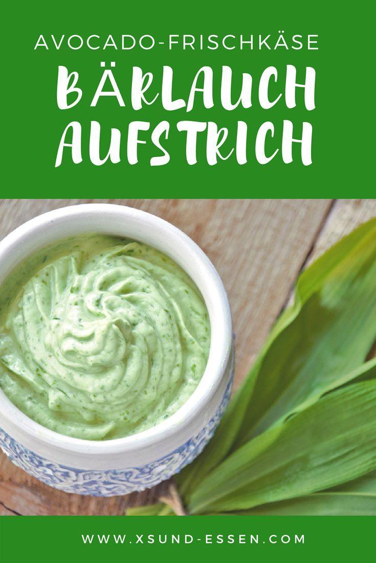 Einfache Bärlauch Avocado Brotaufstrich mit Frischkäse. Zutaten: 6-8 Blätter ...