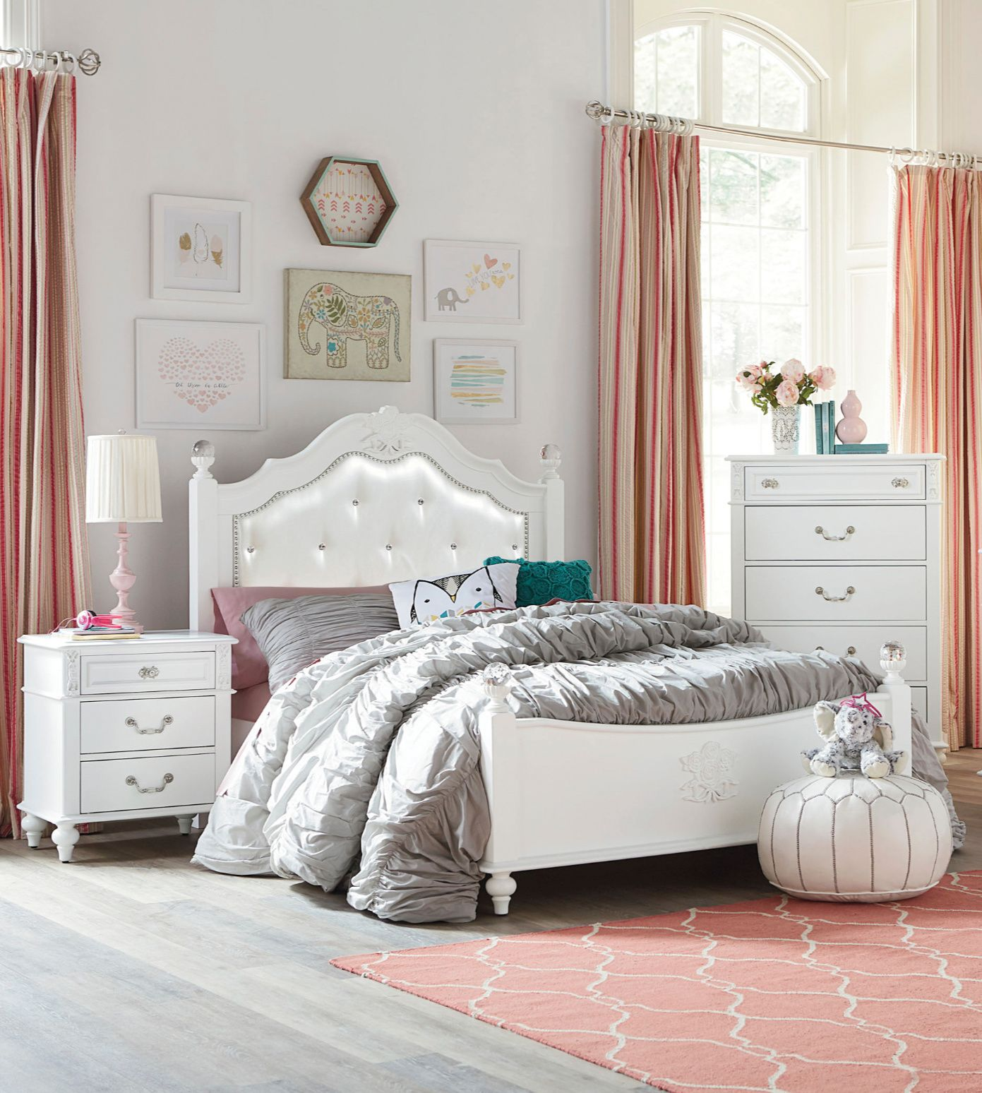 Surprise Your Princess With A Beautiful New Bedroom Featuring The Sweet Olivia White Bedroom S White Bedroom Set Standard Furniture White Bedroom Set Furniture