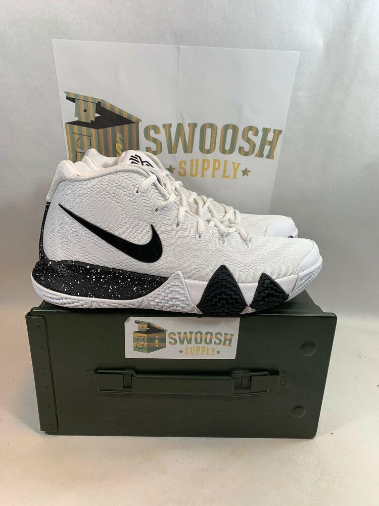 new york 15d61 636f1 Nike Kyrie 4 TB Mens AV2296-100 White Black Team Bank Basketball Shoes Size  9  Nike  BasketballShoes