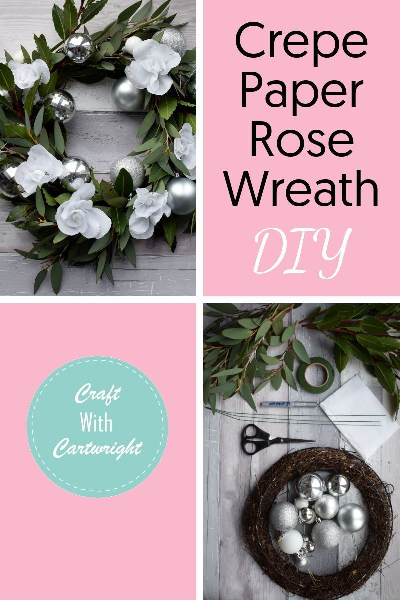 Want to know how to make a diy wreath for your front door? I'll show you how to make this beautiful crepe paper rose wreath from scratch. In my easy step by step guide on how to make a christmas wreath. #diywreath #frontdoorwreath #christmaswreath #crepepaperose #rosewreath #stepbystepwreath #crepepaperroses