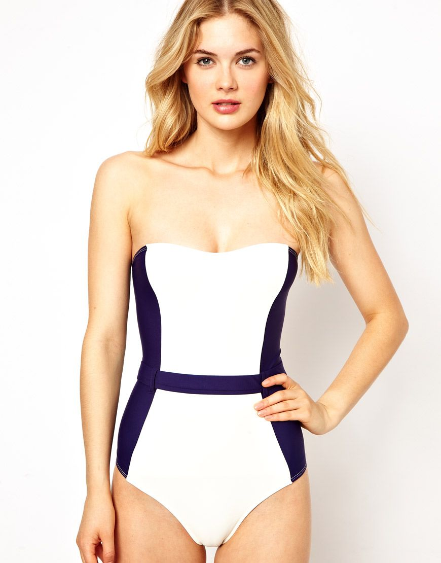 Asos Asos Contrast Panel Belted Bandeau Swimsuit At Asos My