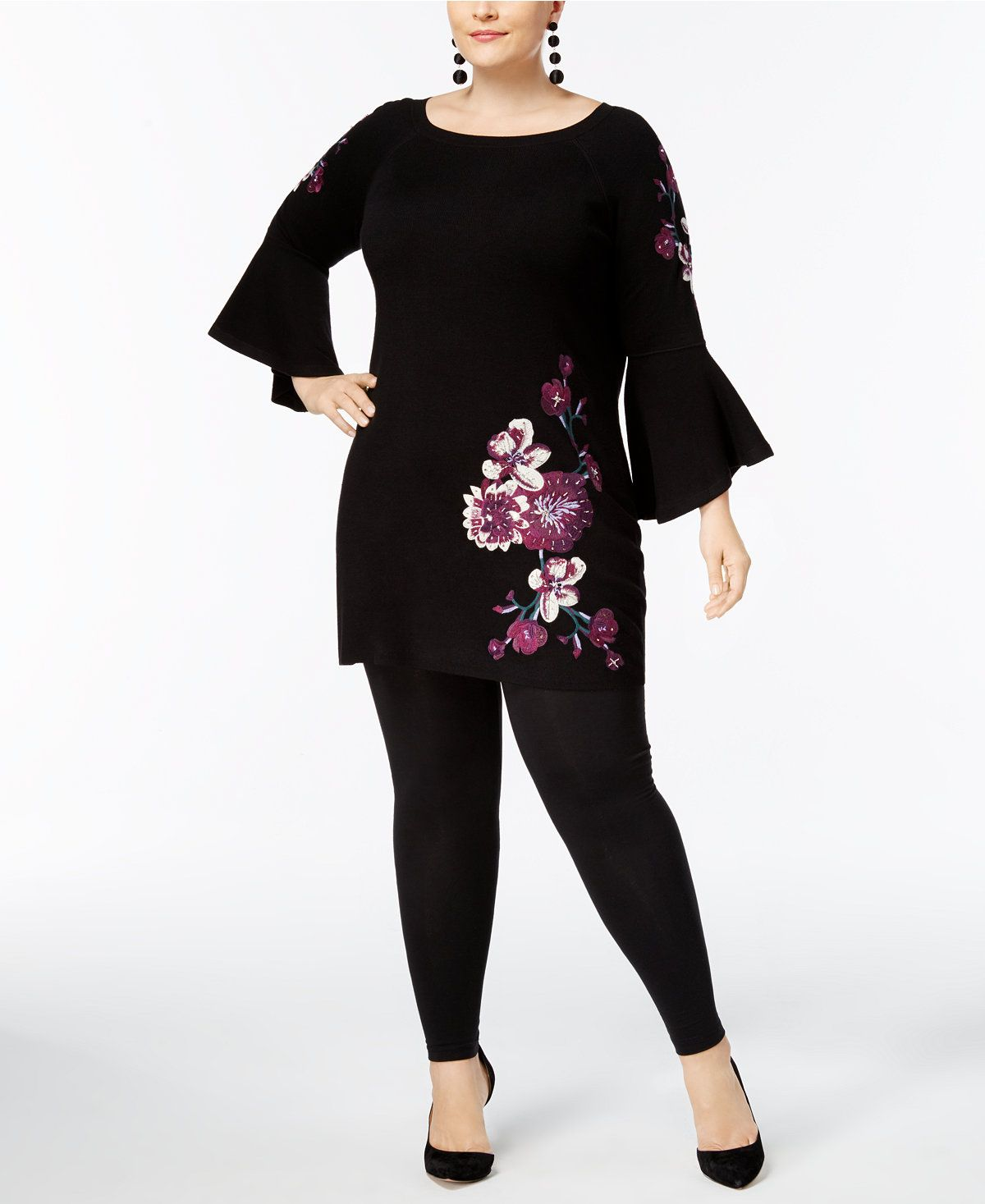 INC International Concepts Plus Size Embroidered Bell-Sleeve Tunic ...