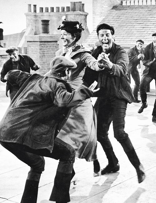 """Filming the """"Step in Time"""" number in """"Mary Poppins"""""""