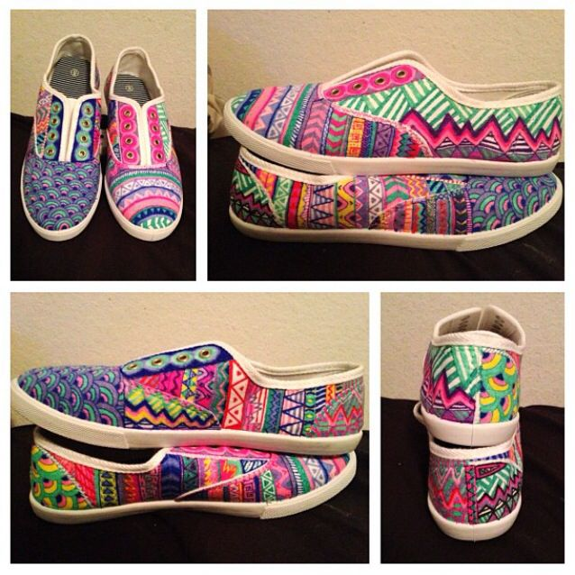 Diy Canvas Shoe Art A Super Fun And Easy Way To Express Yourself All You Need Is White Canvas Shoes And Fabric Canvas Shoes Sharpie Shoes White Canvas Shoes