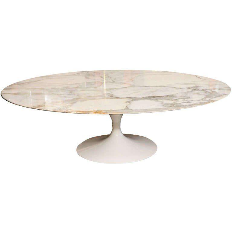 Early Saarinen Oval Tulip Coffee Table Calacatta Du0027Oro Marble