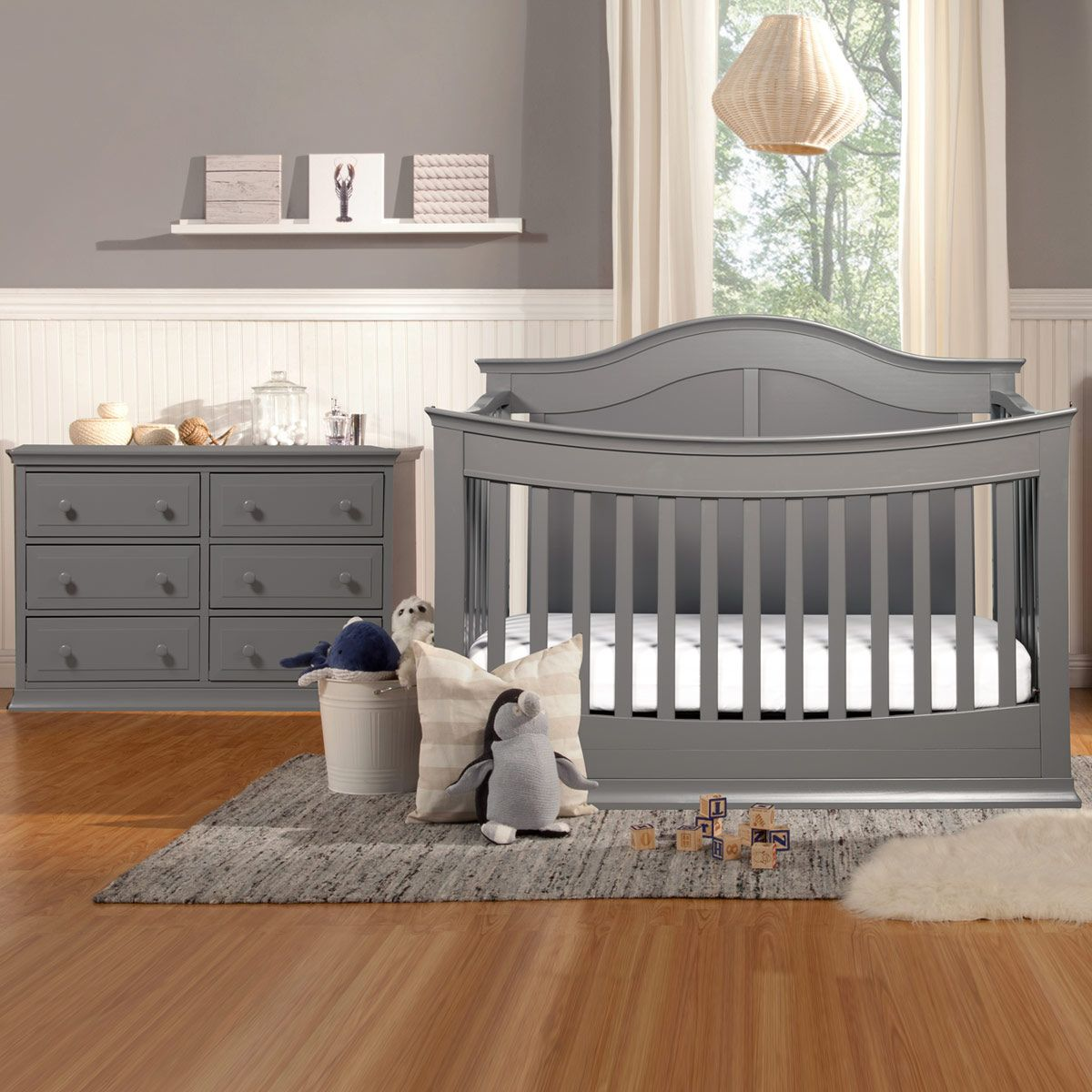 Davinci Meadow 2 Piece Nursery Set 4 In 1 Convertible Crib And Signature 6 Drawer Double Dresser In Slate Grey Crib Nursery Nursery Furniture Sets Grey Crib [ 1200 x 1200 Pixel ]