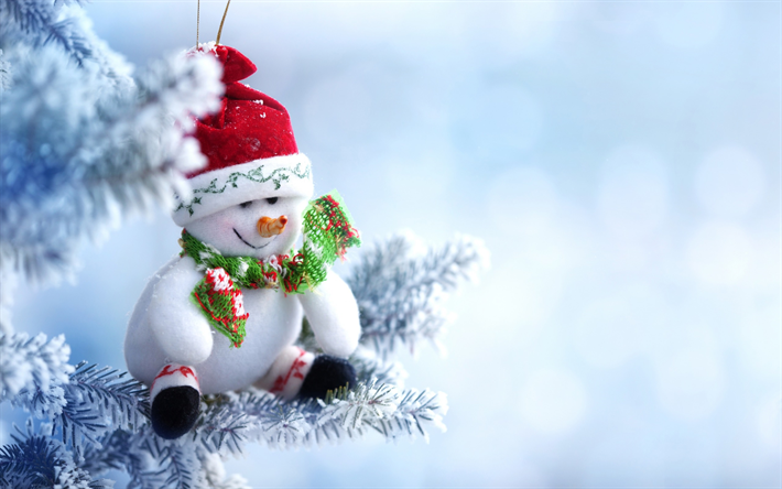 Download Wallpapers Snowman Winter Snow Christmas New Year Plush Snowman Besthqwallpapers Com Holiday Wallpaper Christmas Decorations Christmas Ornaments