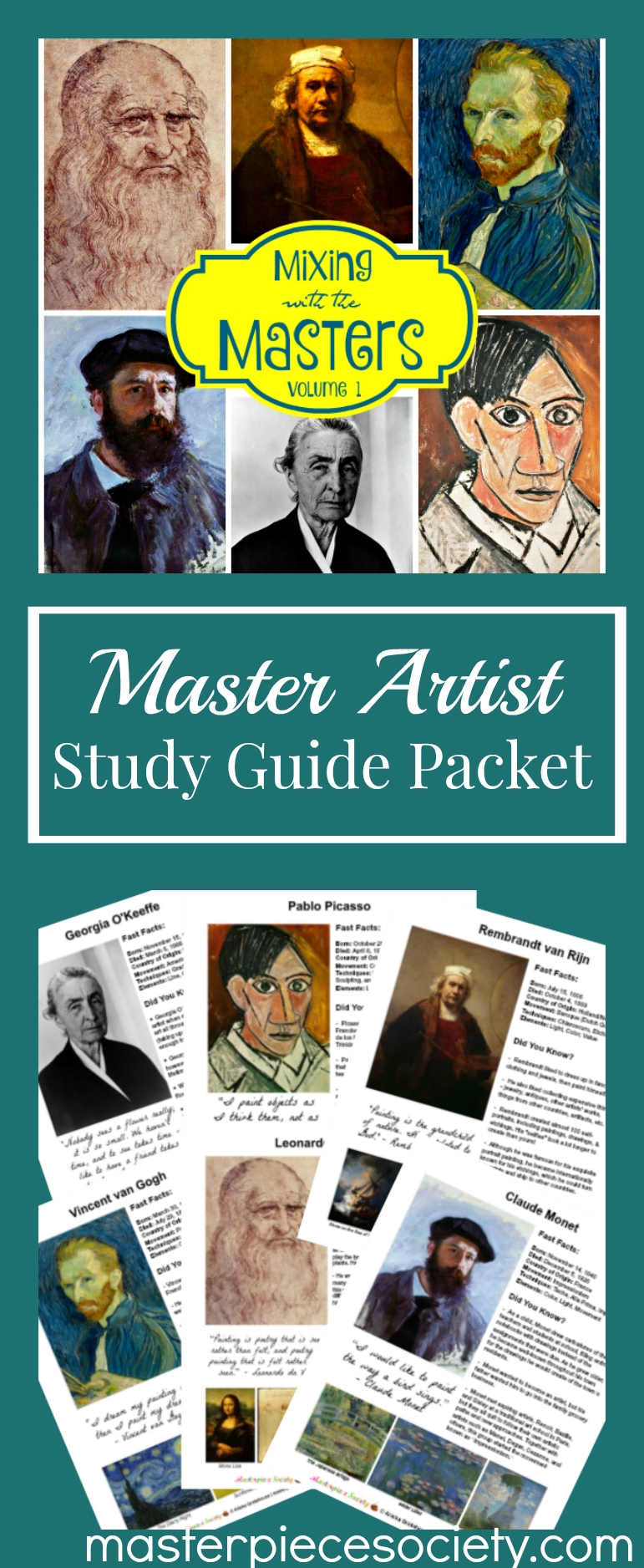 Free for subscribers Volume One Famous Artists Study Guide Packet This packet is perfect to introduce your children to some of the most famous artists