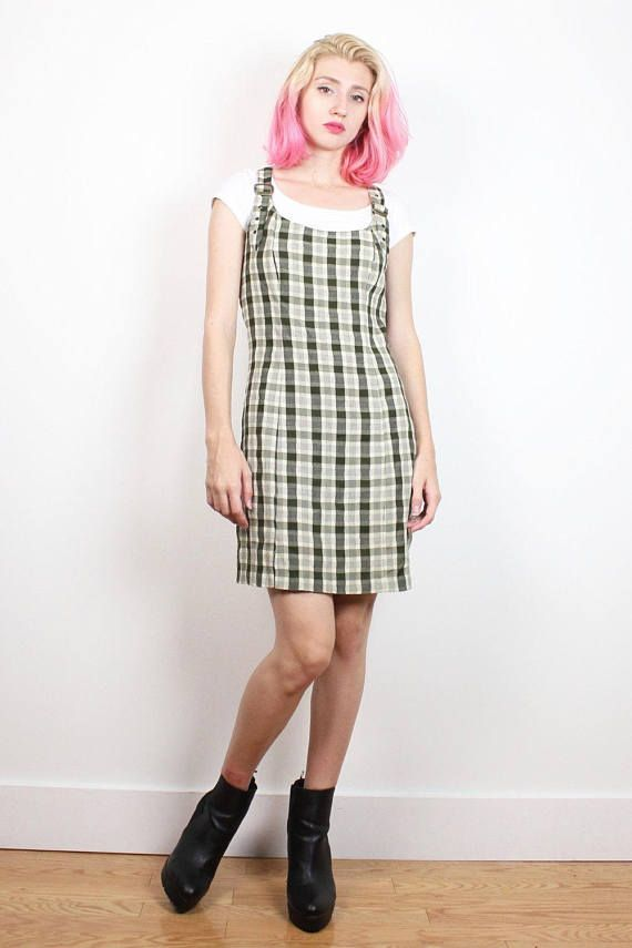 f19e866dbc2 Vintage 90s Dress Olive Green Plaid School Girl Jumper Dress 1990s Dress  Overalls Mini Dress Soft Grunge Dress Clueless Preppy S M Medium  1990s  90s   etsy ...
