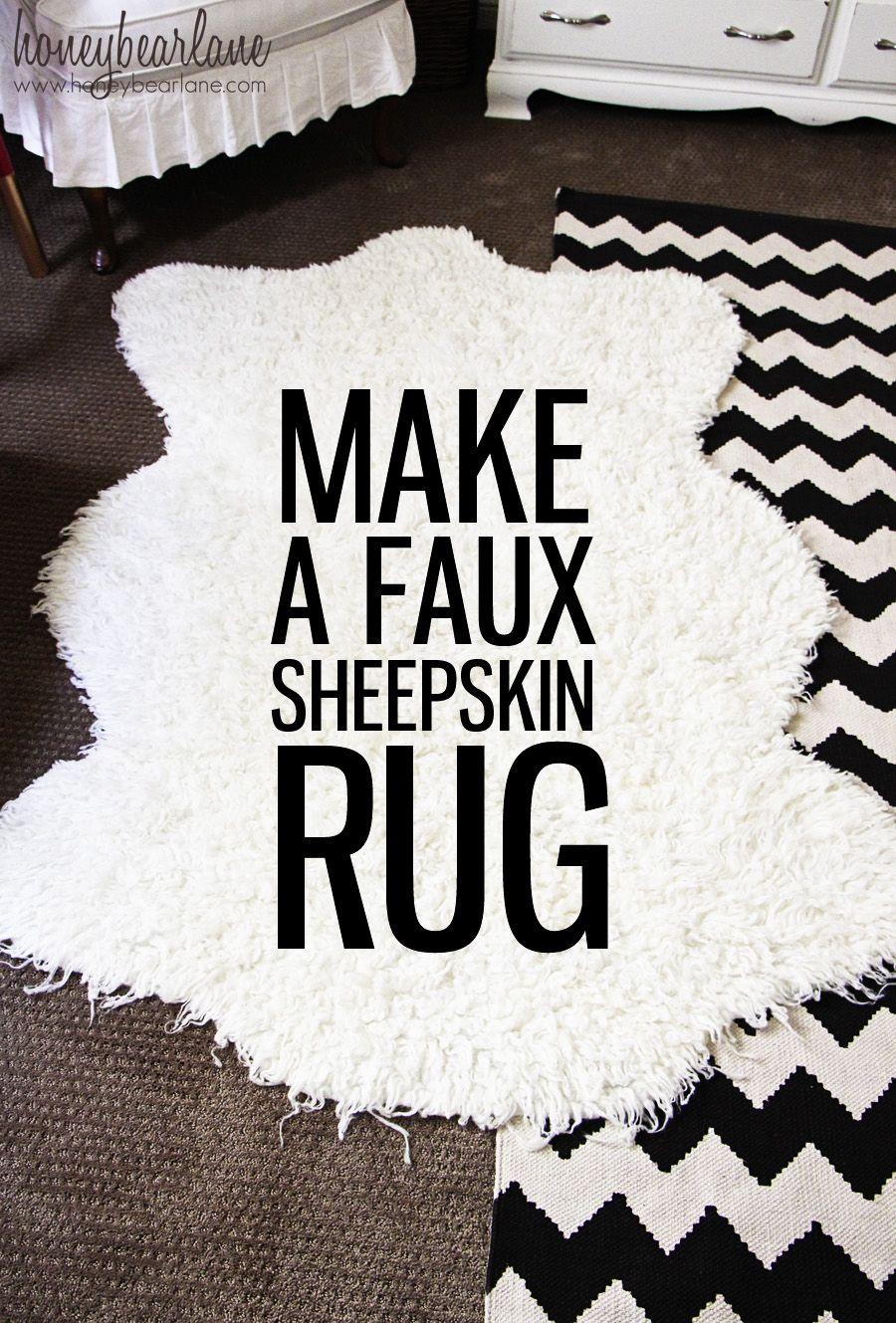 Make A Faux Sheepskin Rug Faux Sheepskin Rug Super Easy And Room - Cowhide and sheepskin rugs bathroom