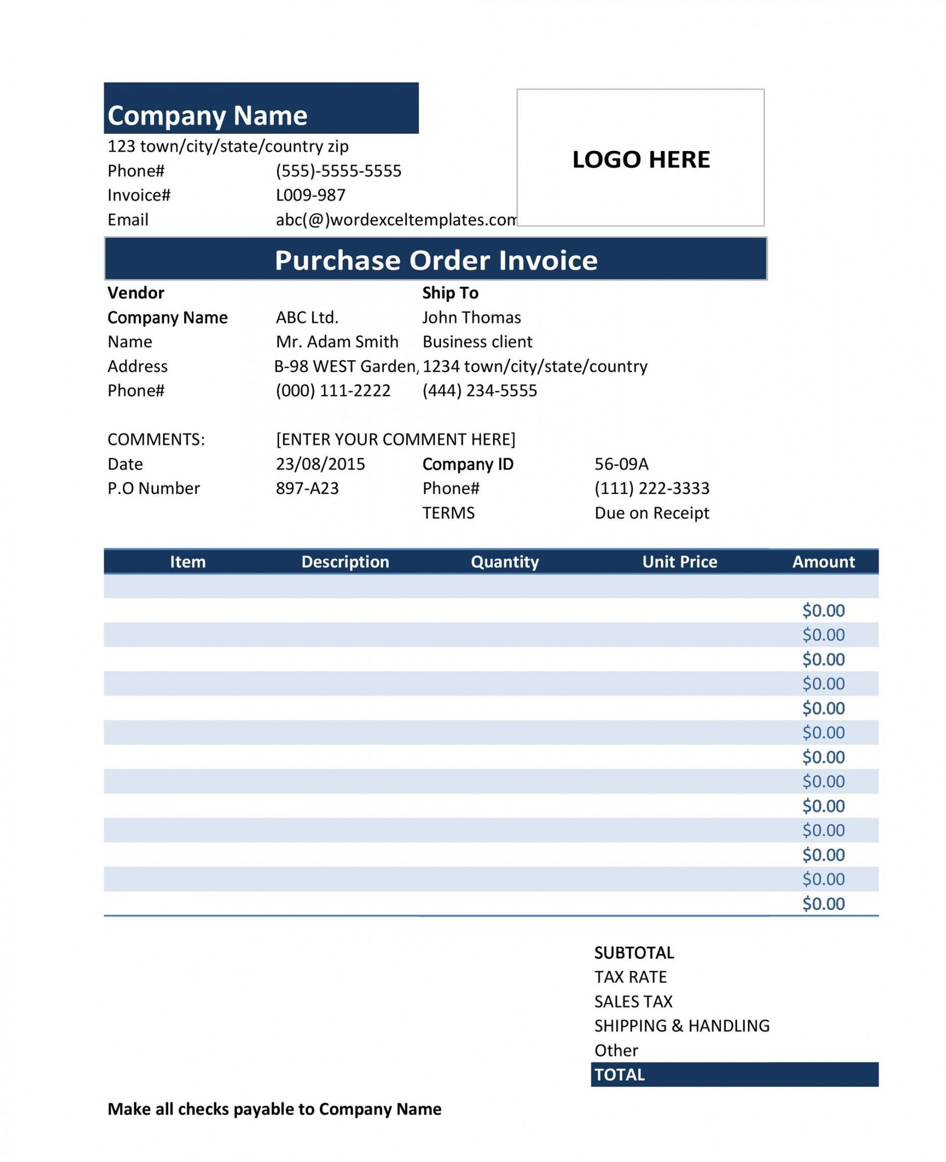 Explore Our Sample Of Purchase Order Invoice Template For Free In 2020 Invoice Template Purchase Order Template Purchase Order