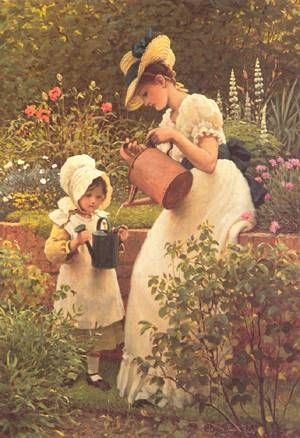 hand painted reproduction of the young gardener painting this masterpiece was painted originally by george dunlop leslie commission your beautiful hand