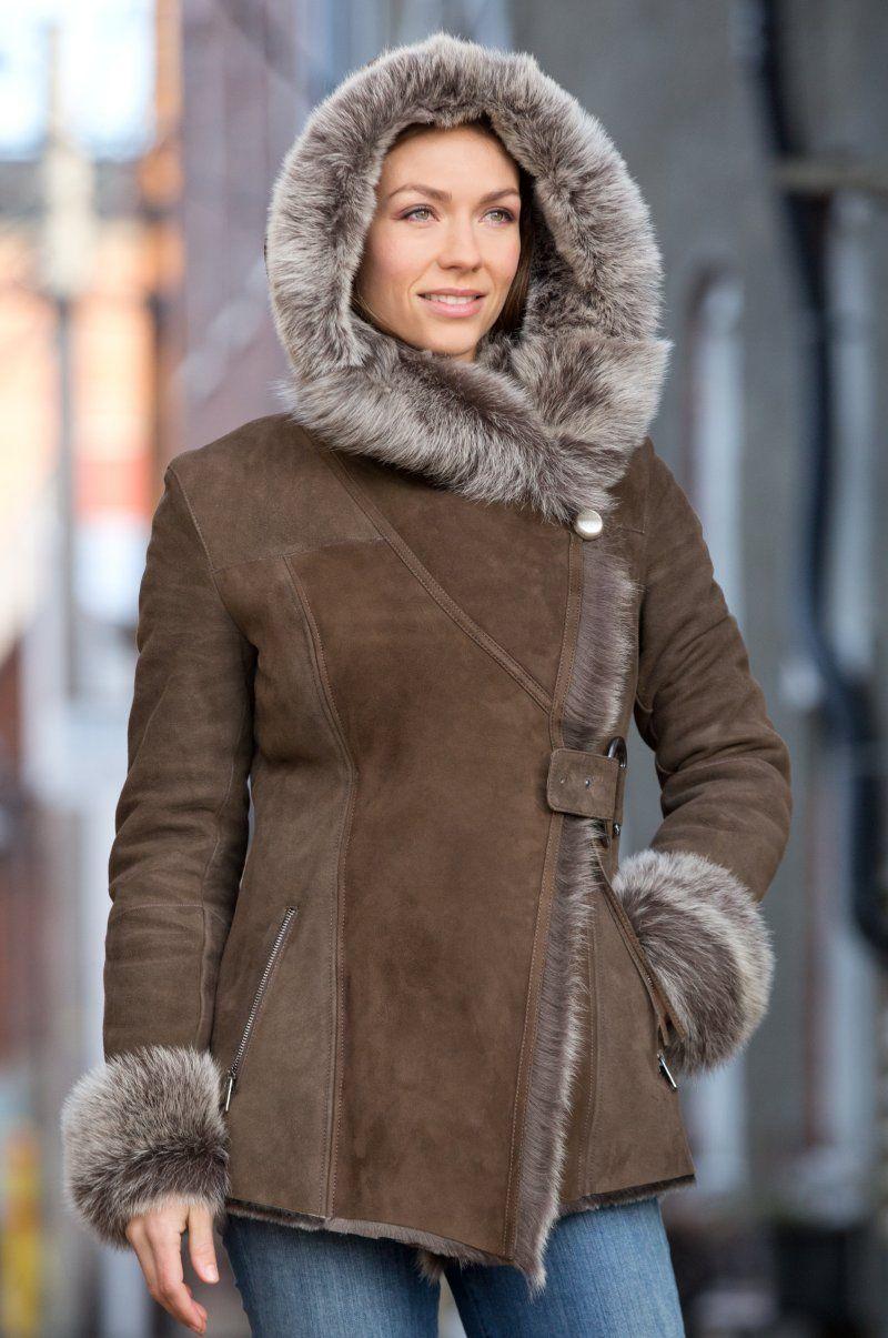 Felicia Shearling Sheepskin Jacket with Toscana Trim in