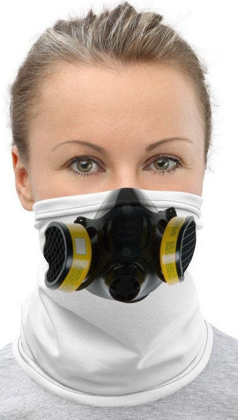 Respirator Mask Anti Pollution Bio Hazard Design Face Mask Neck Gaiter- Cool Design with Realistic looking Bio Hazard Mask on Face