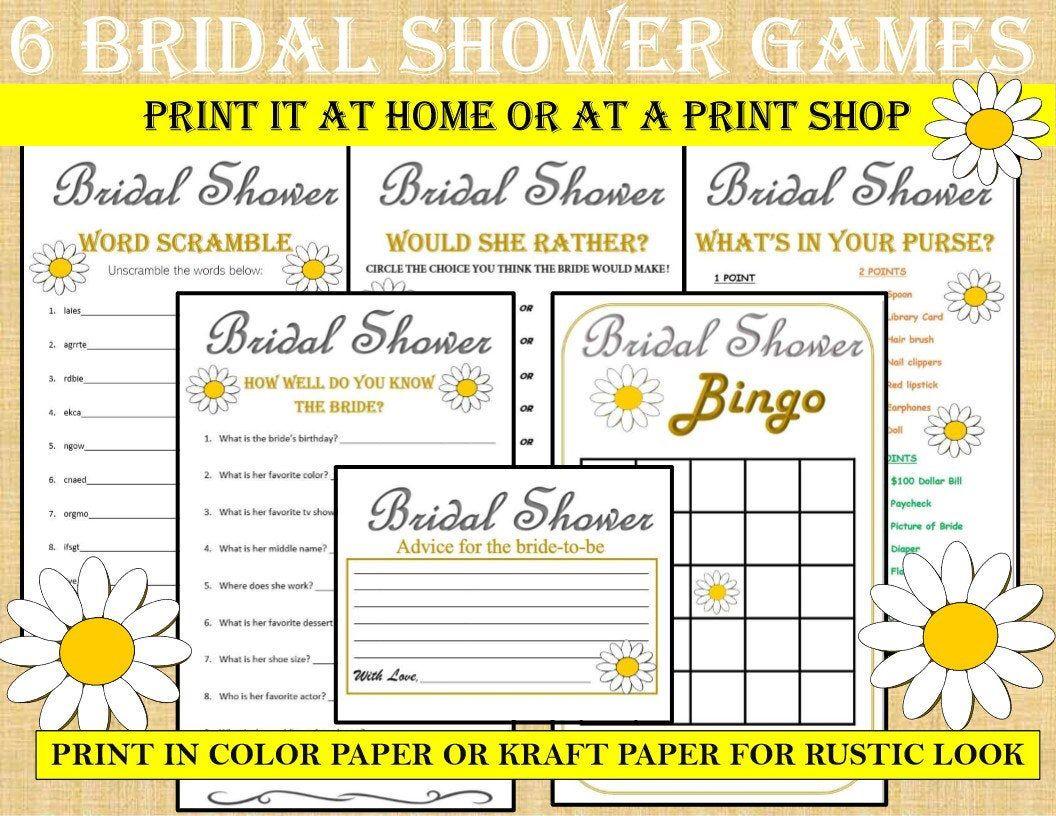 Printable Bridal Shower Game Bundle Daisy 6 Games Daisy