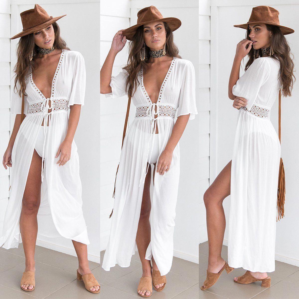 Women Beach Bikini Cover up Long Kaftan dress Boho Maxi Dress Swimwear Summer