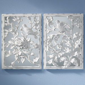 Set of Two White Relief Mirrored Wall Plaques - Furniture, Home Decor & Home Furnishings, Home Accessories & Gifts   Expressions