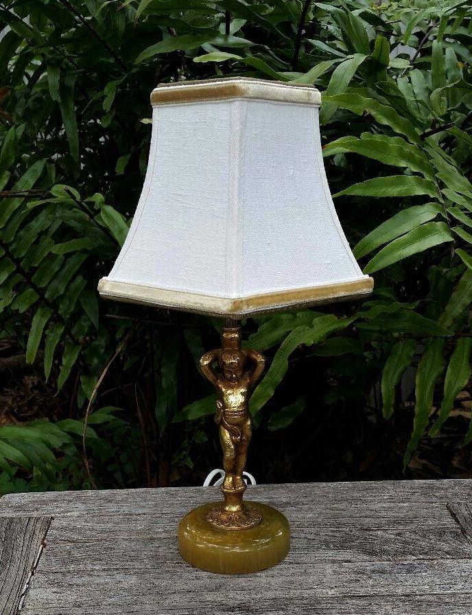 Angel Lamp Custom Lampshade Gold Angel Green Marble Base Off White Linen Fabric Desk Lamp Table Lamp Custom Decor Wheat Velvet T Lamp Shades Custom Shades Handmade Lampshades