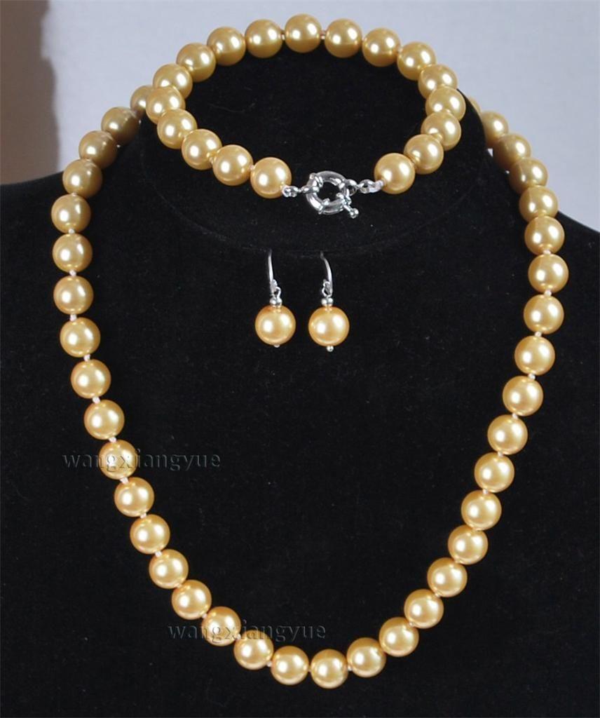 Mm golden south sea shell pearl necklace bracelet earrings set aaa