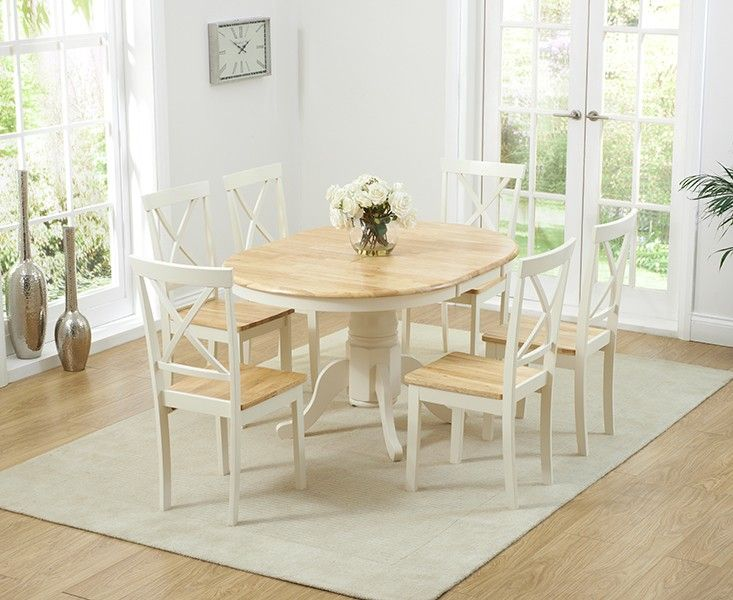 Buy The Epsom Cream Pedestal Extending Dining Table With Chairs At New Extending Dining Room Tables And Chairs Review