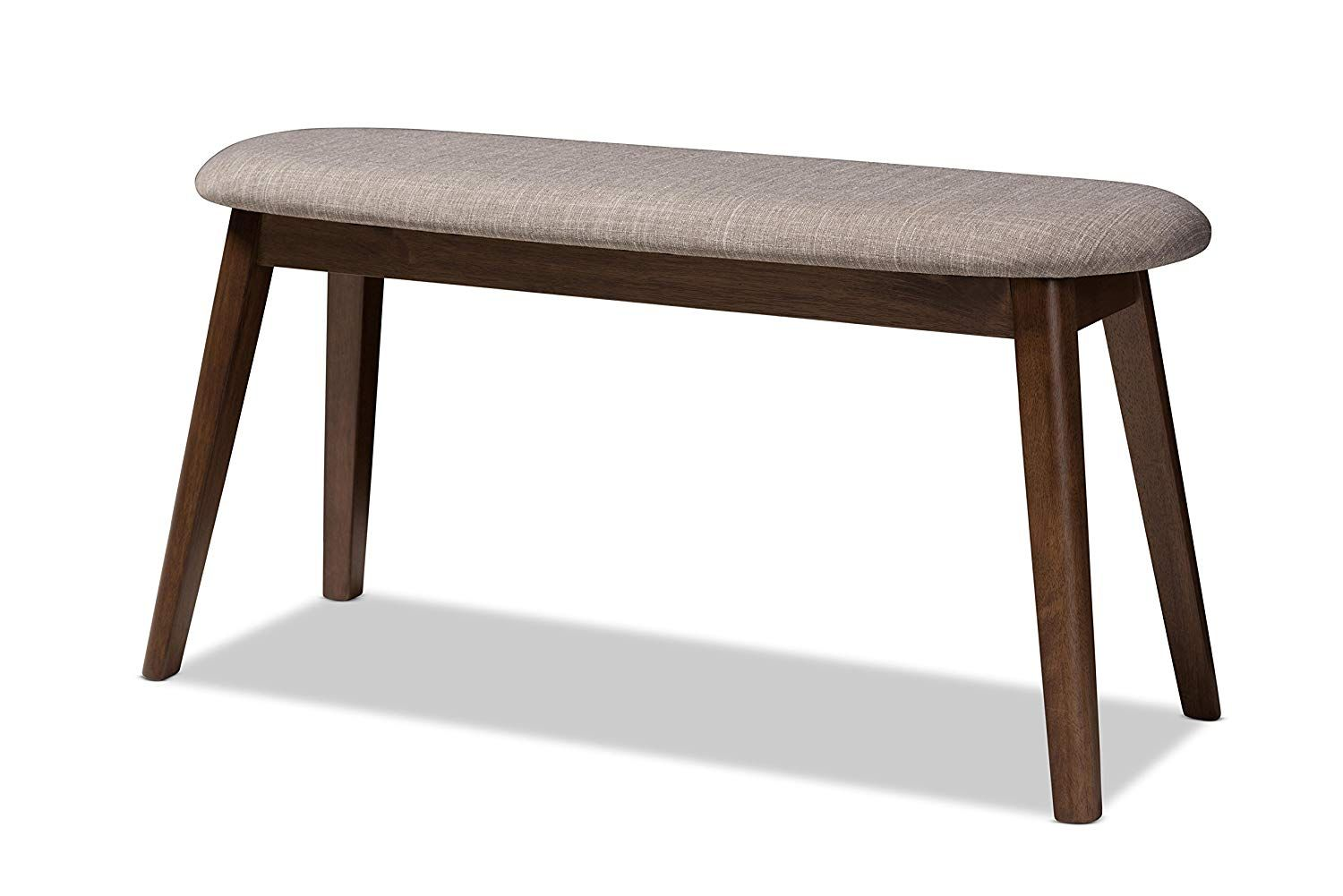 Baxton Studio 144 424 7939 Amz Ambrelle Bench Light Grey Walnut Brown With Images Traditional Benches Wood Bench Contemporary Bench