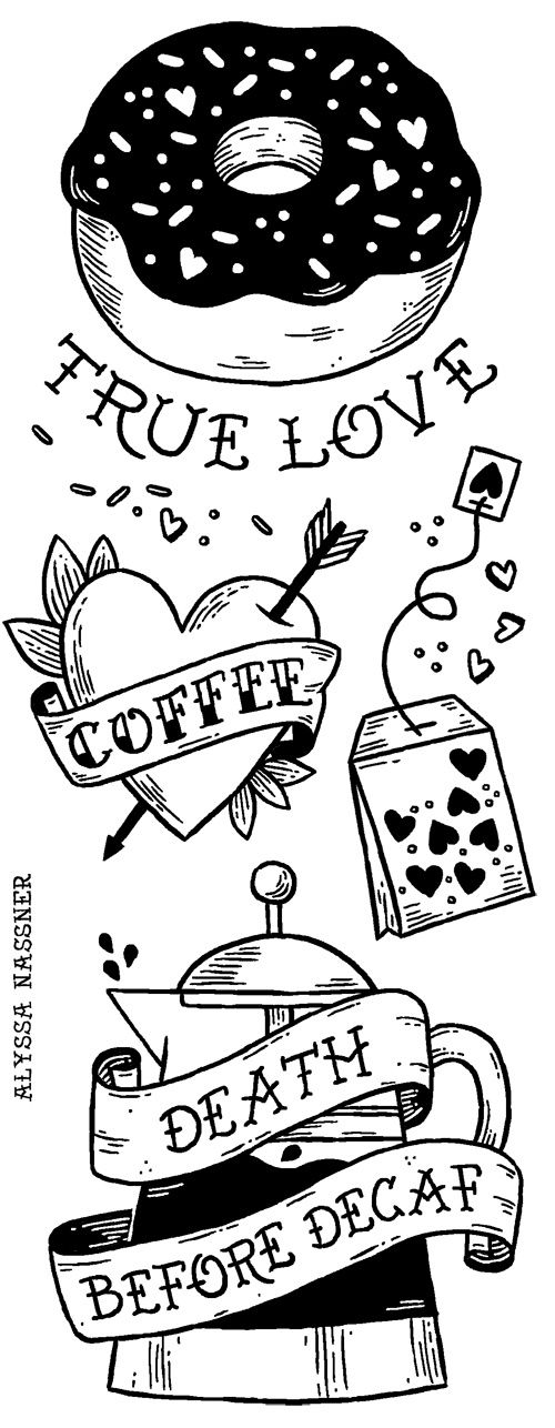 """Definitely wouldn't want to go crazy with any sort of """"tattoo"""" theme, but this combines a lot of things we love: coffee, donuts, and the style of this is awesome."""