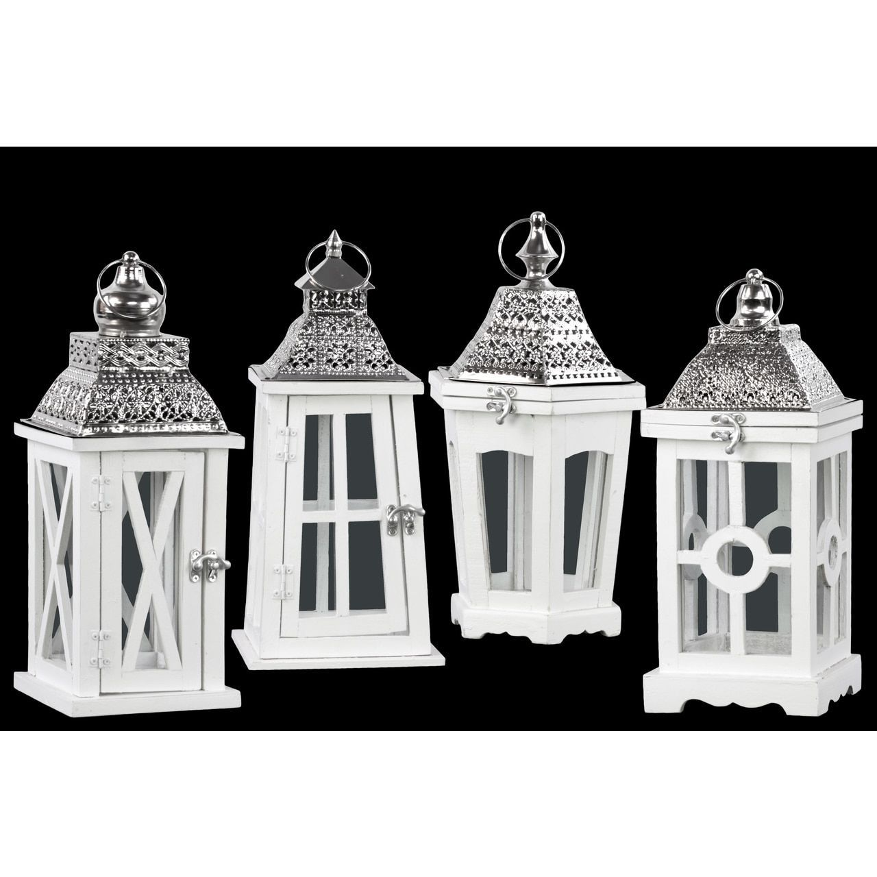 Urban Trends Collection /Silvertone /Pierced Metal/Glass Assorted Square Lanterns With Ring Hangers