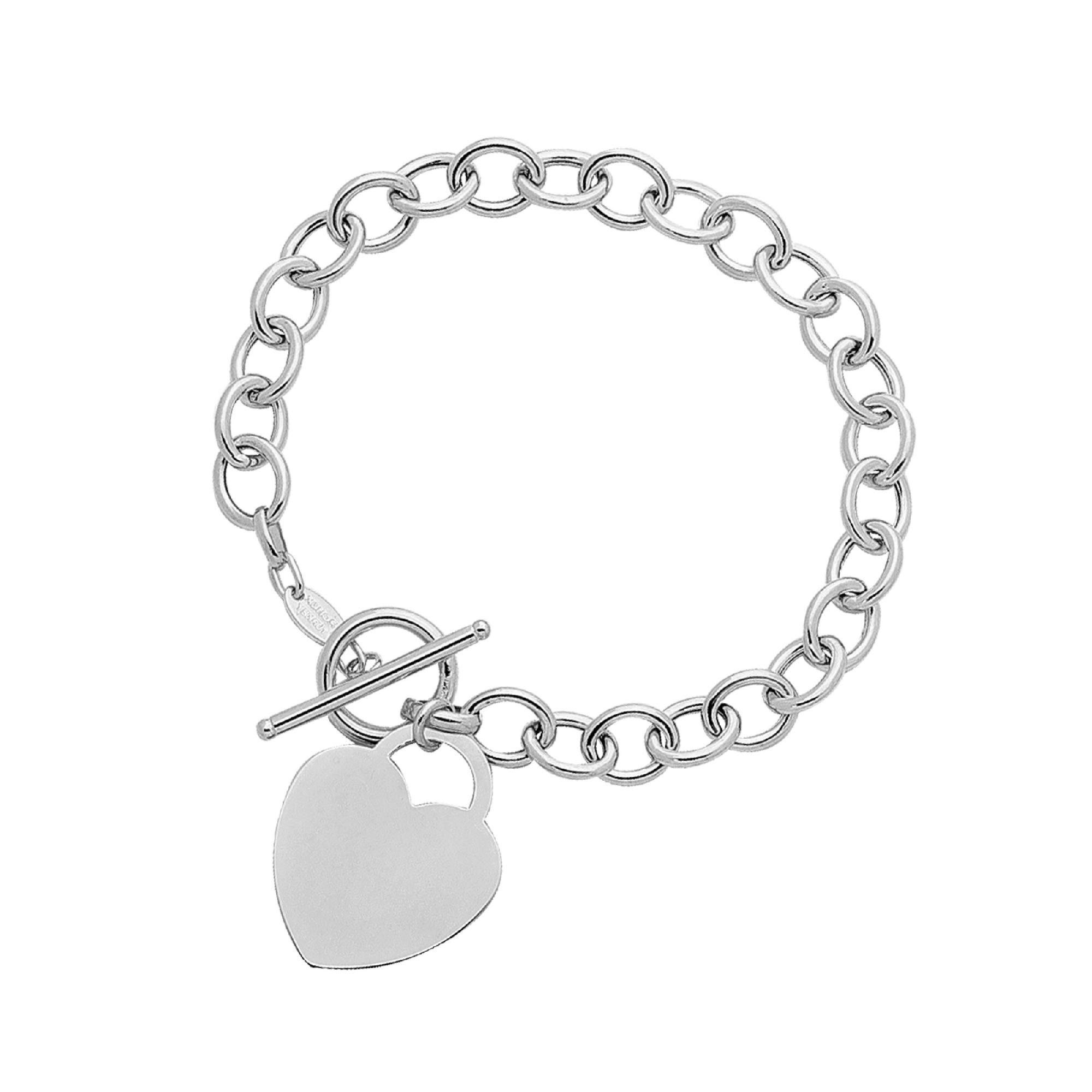 Toggle bracelet with heart charm in k white gold jewelry