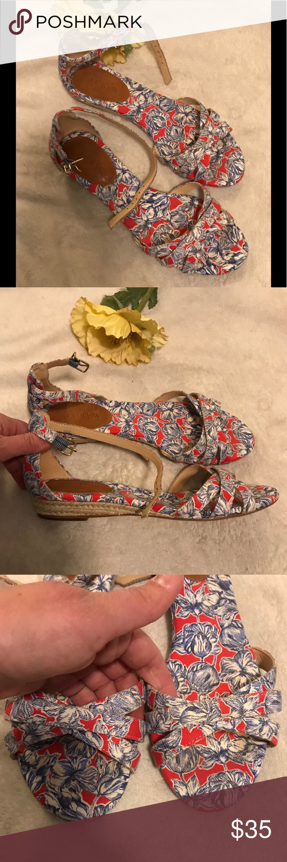 20b8716f6 J. Crew liberty floral print Marina mini-wedge Size 8. Good used condition.  J. Crew Shoes Sandals