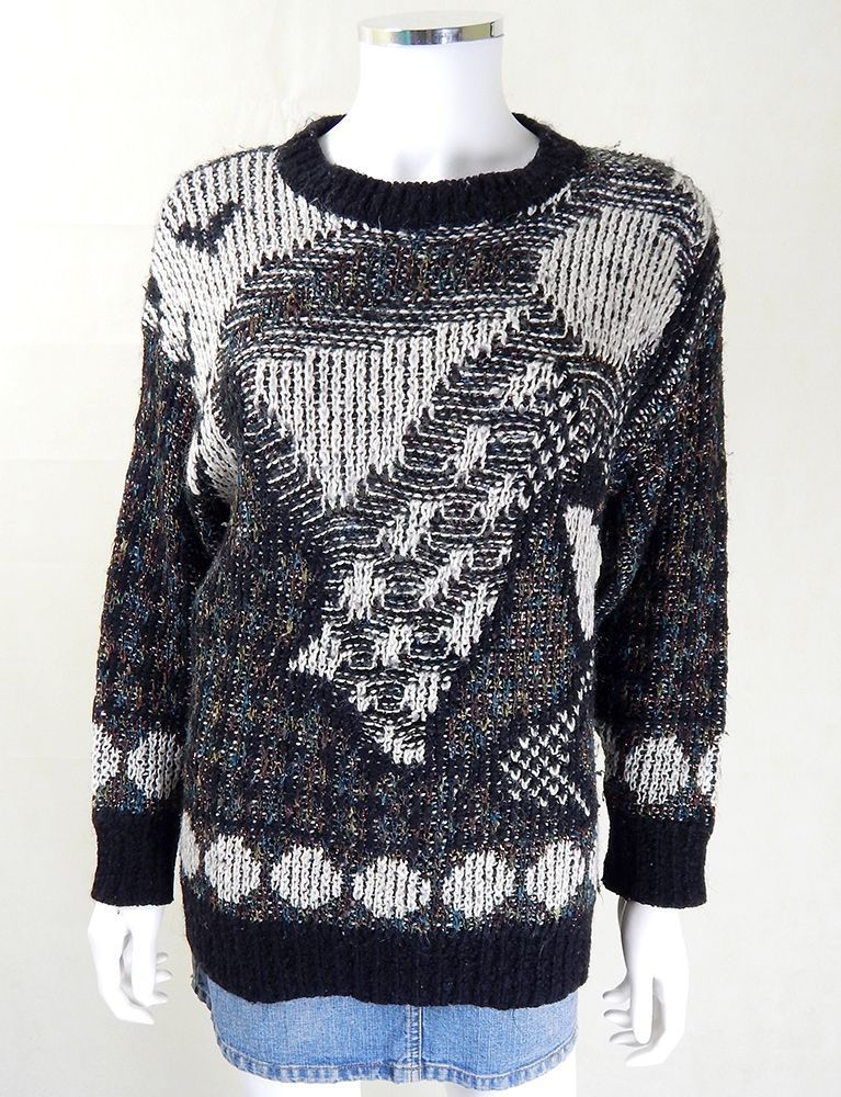 Stand out with this Vintage 1980s Abstract Knit Jumper from My Vintage, vintage jumpers, 1980s clothing, 1980s fashion, vintage jumper, 1980s vintage jumpers, 1980s knitwear