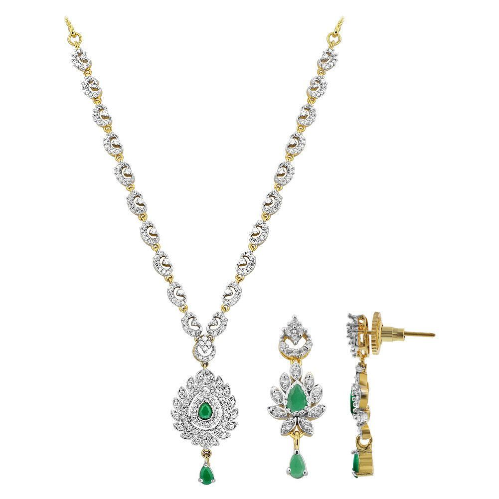 Gold plated teardrop simulated emerald and cz necklace earrings set