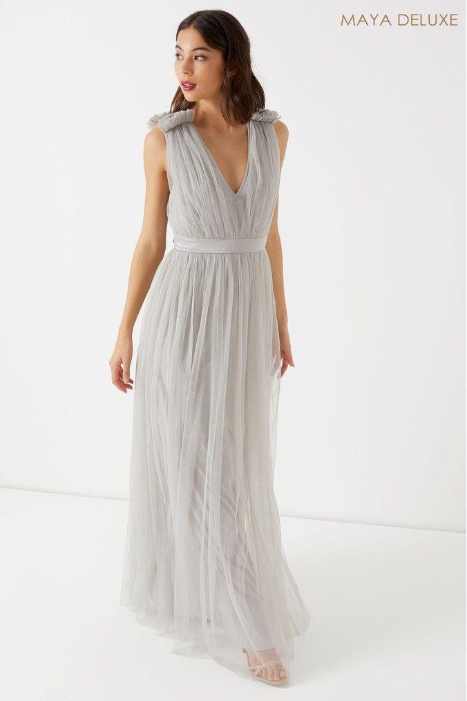 Womens Maya Petite Tulle Maxi Dress Grey Maxi Dress Evening