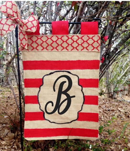 Personalized Stripe Garden Flag Red Stripe Flag Initial Garden