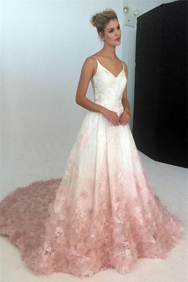 5ce47c8ef7f Pink Applique Modest Long Lace A-line Spaghetti Straps Princess Prom Dresses  Z0372