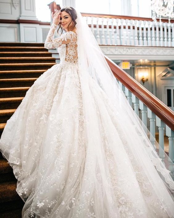 Fl Detail Embellished Long Sleeve Ballgown Wedding Dress