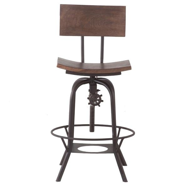 Awesome Wood 18 Inch Wide Adjustable Height Bar Stool With Backrest Frankydiablos Diy Chair Ideas Frankydiabloscom