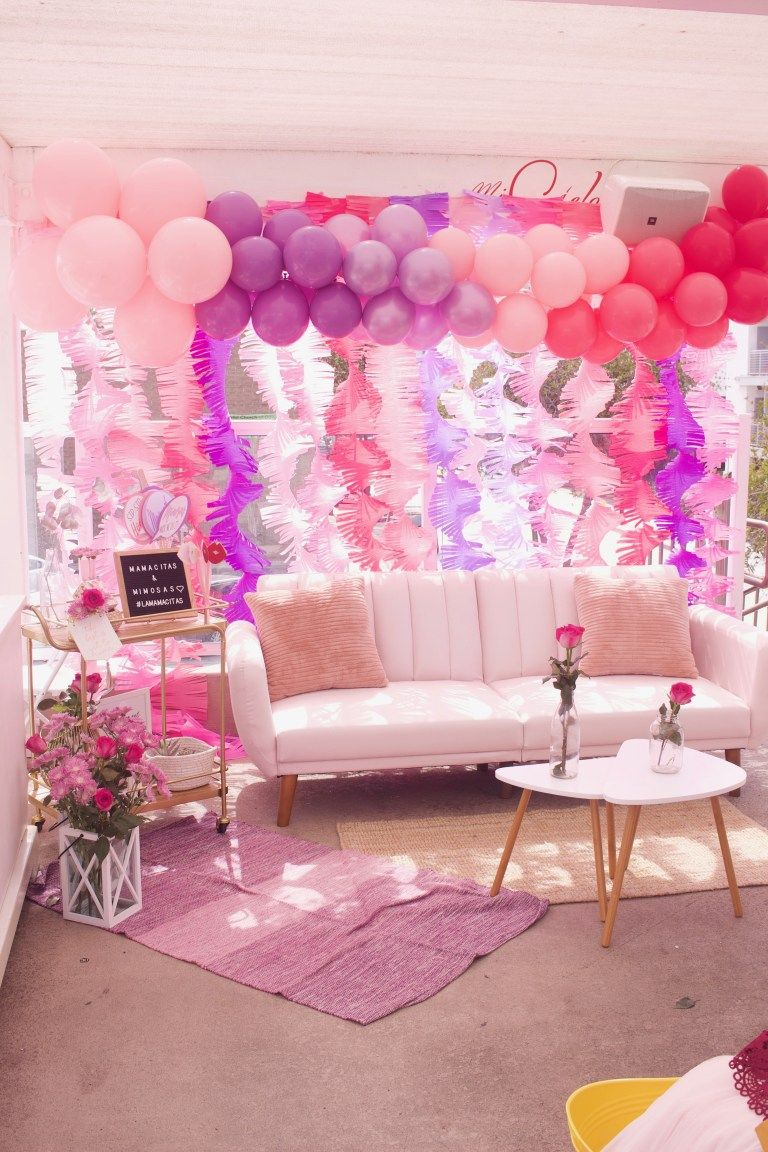 Ombre balloon garland by la jolie fete for   mamacitas  mamas mimosas event also rh pinterest