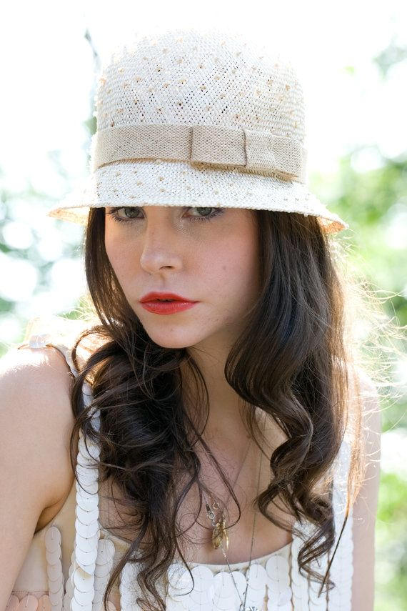 1930's style straw cloche hat with bow detail by alatete on Etsy, $160.00