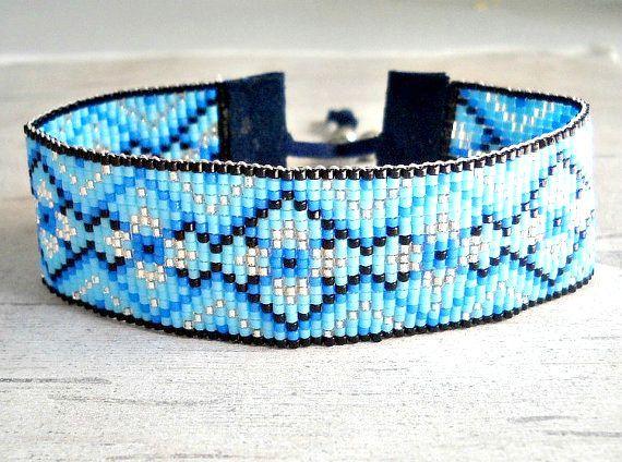 Blaue Perlen Armband Seed Bead Armband blau von SKBeadedJewelry