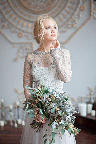 Auxico Perlen Strass Kristalle Hochzeitskleider Eine Linie Lange ...