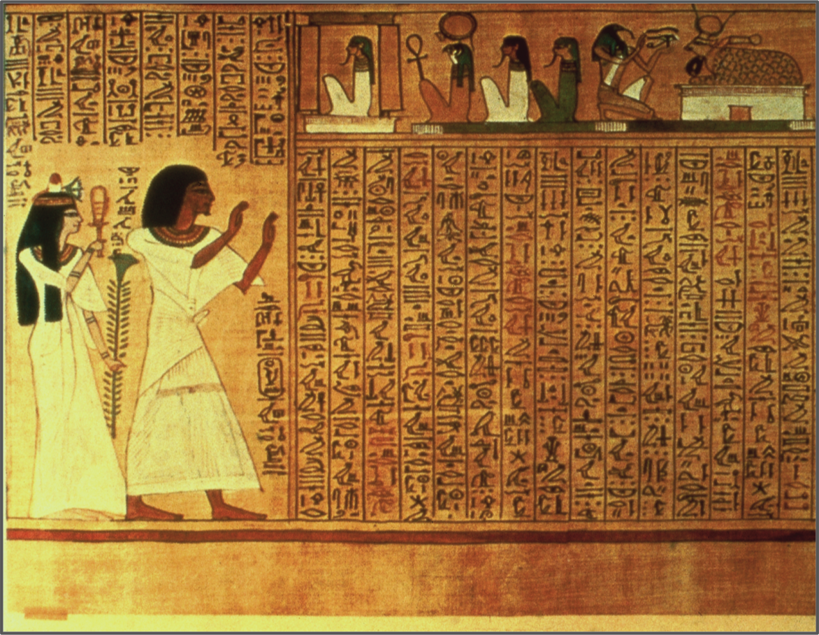 Detail from the papyrus of hunefer c 1370 bce hunefer and his detail from the papyrus of hunefer c hunefer and his wife are worshipping the gods of amenta the sun god ra bears an ankh symbol on his knee and thoth biocorpaavc Gallery