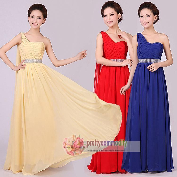Wholesale Evening Dresses - Buy 2014 New Fashion Summer Women Formal Dress Long Design One Shoulder Ribbon Purple Champagne Plus Size Evening Dresses, $31.41   DHgate