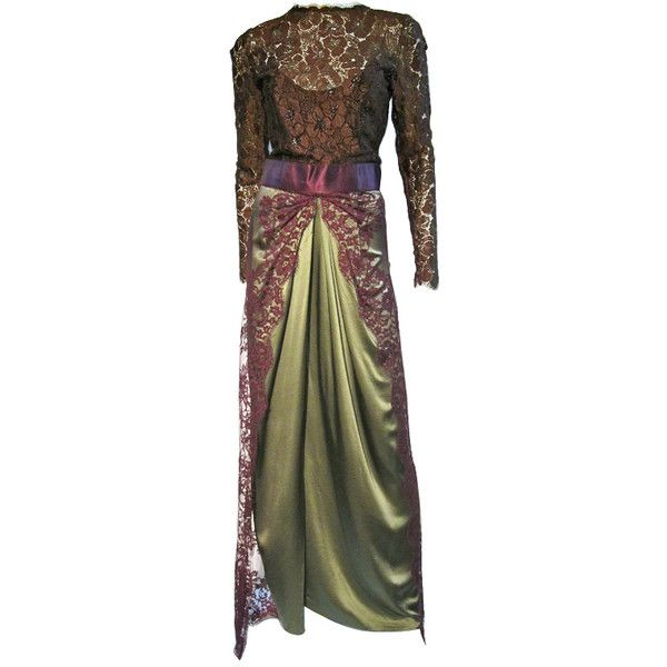 Preowned Bill Blass 70s Silk Chantilly Lace Sarong Gown ($800 ...