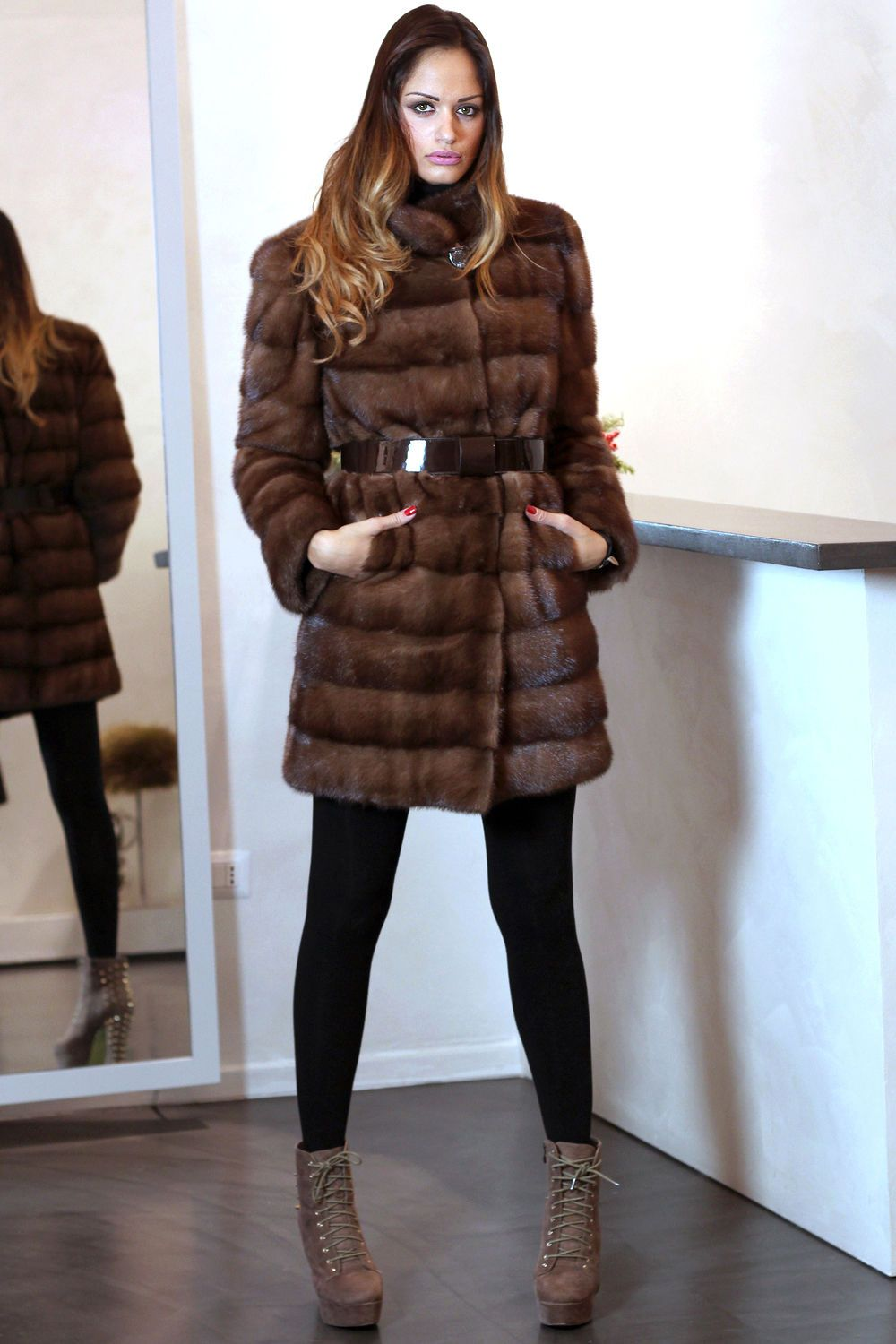 sports shoes a1bb3 26346 PELZ PELZMANTEL MANTEL NERZ JACKE FUR COAT MINK PELLICCIA ...