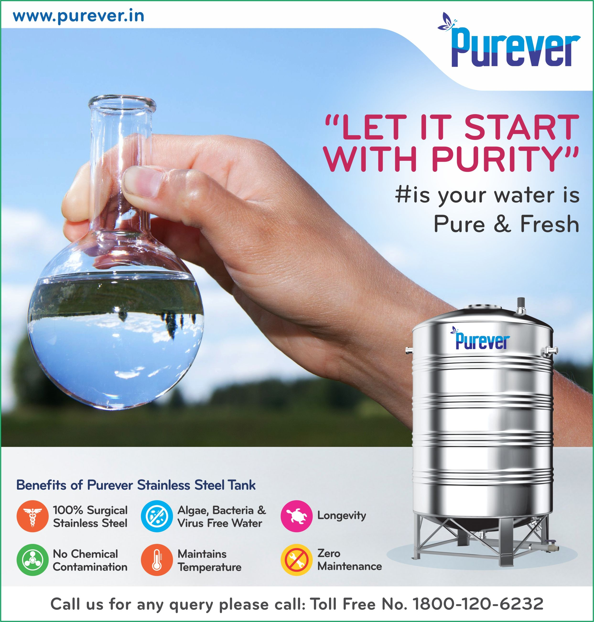 Let It Start With Purity Is Your Water Is Pure Fresh Switch To Purever Stainless Steel Water Storage Ta Steel Water Tanks Stainless Steel Tanks Water Tank