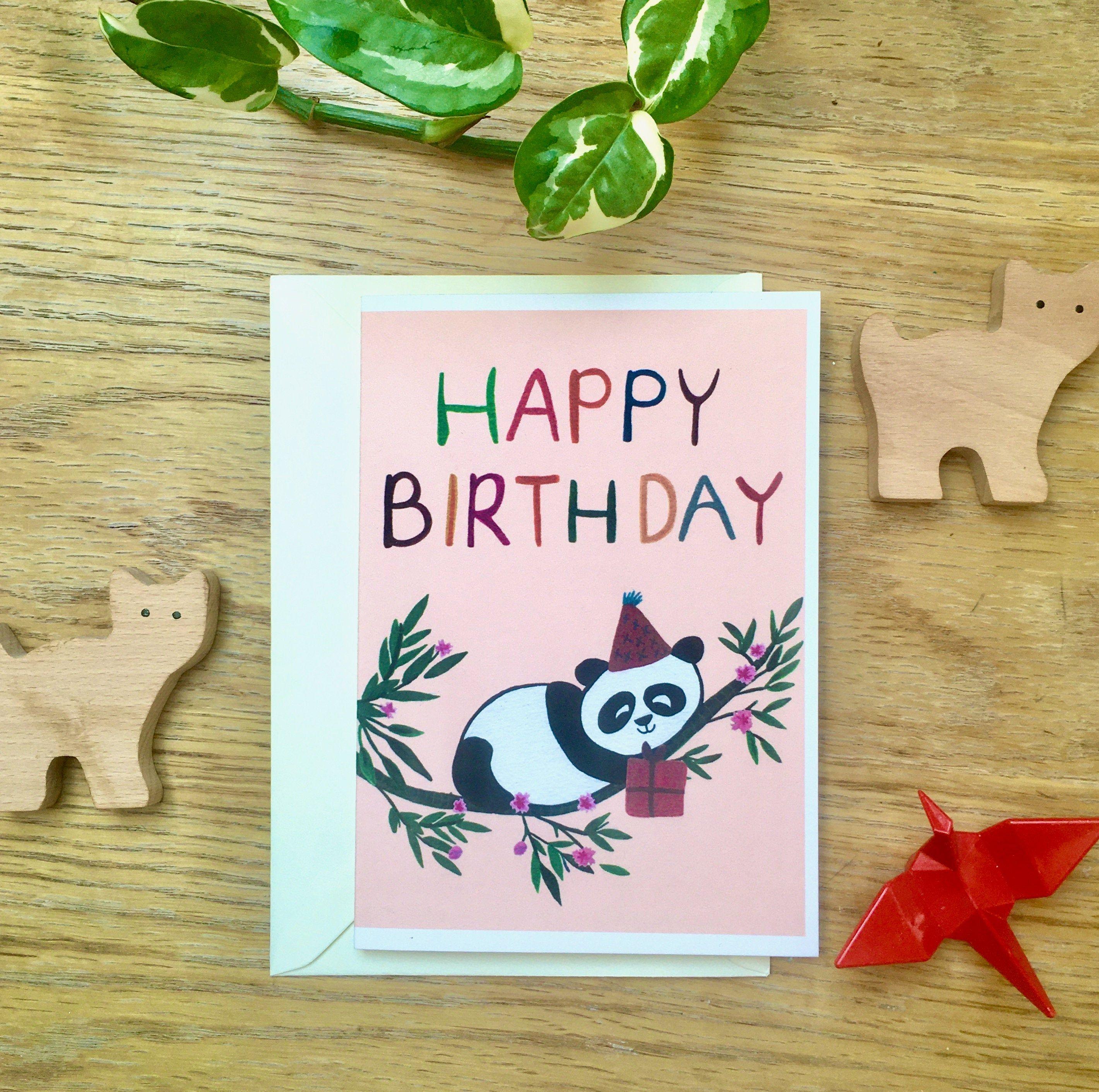 Happy Birthday Card Panda Illustration Cute Birthday Card Etsy Cute Birthday Cards Kids Birthday Cards Happy Birthday Cards