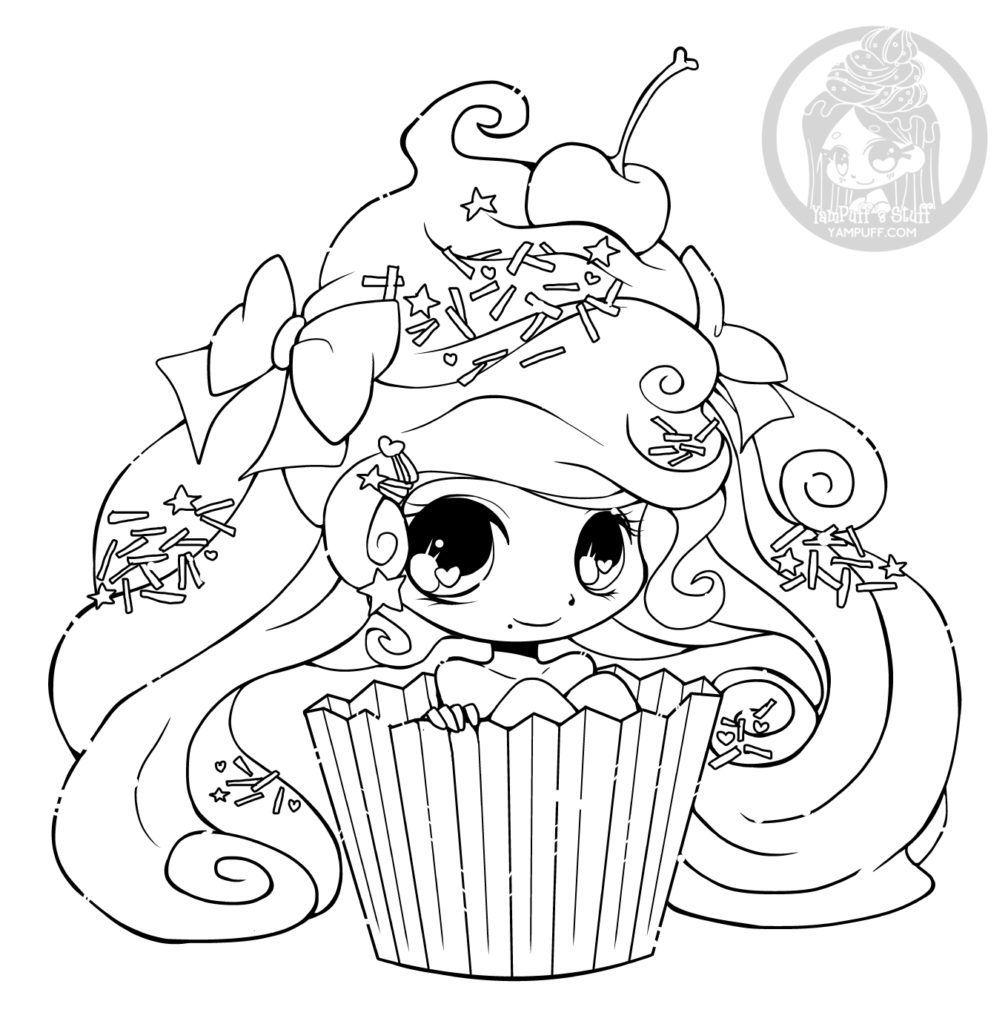 Chibi Cupcake Par Yampuff Coloriage Gratuit Imprimer Coloriage